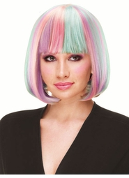 Deluxe Bob Wig in Lilac, Pink and Light Blue for $19.99