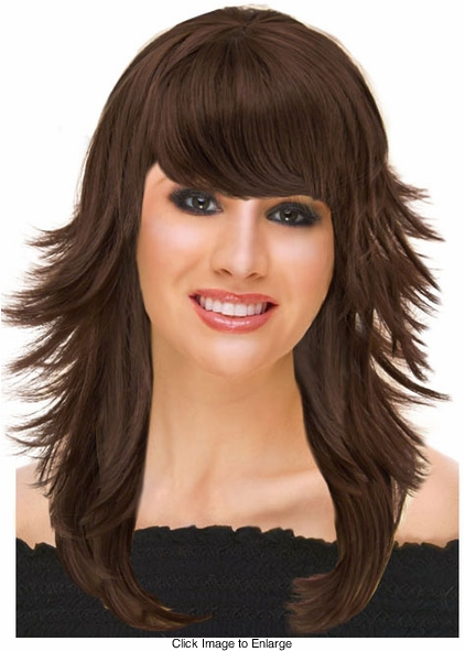 Deluxe Feathered Retro Wig in Brown