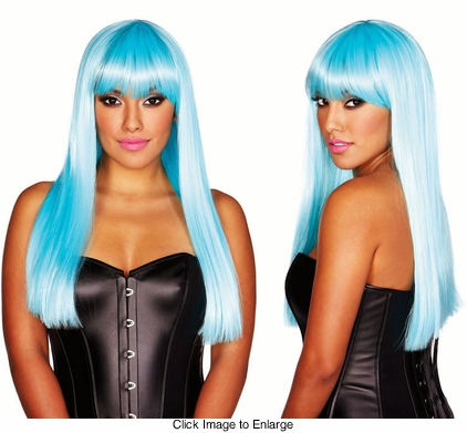 Deluxe Long Blue Wig