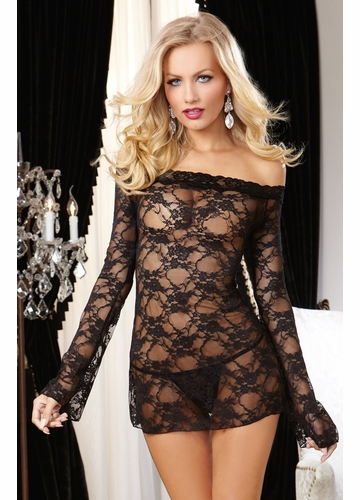 Deluxe Stretch Lace Off Shoulder Mini Dress