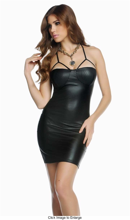 Devyn Faux Leather Dress with Balconette Cups