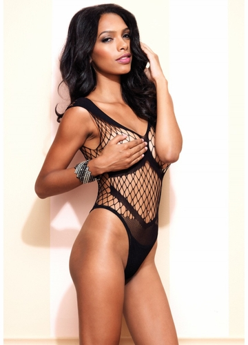 Diamond Net Bodysuit with Opaque Details