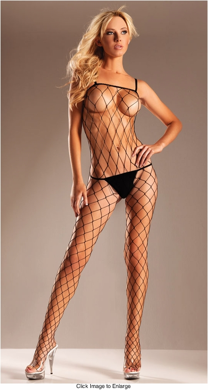 Diamond Net Bodysuit with Scoop Neck