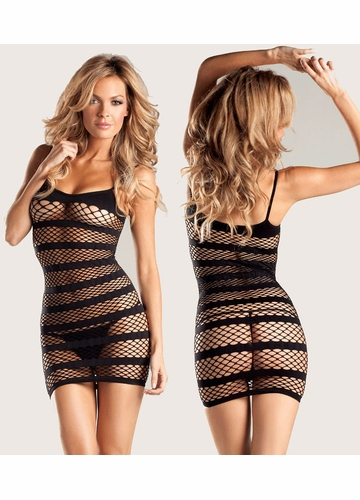 Diamond Net Mini Dress with Opaque Stripes