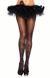Dotted Sheer Pantyhose with Floral Knee High Design