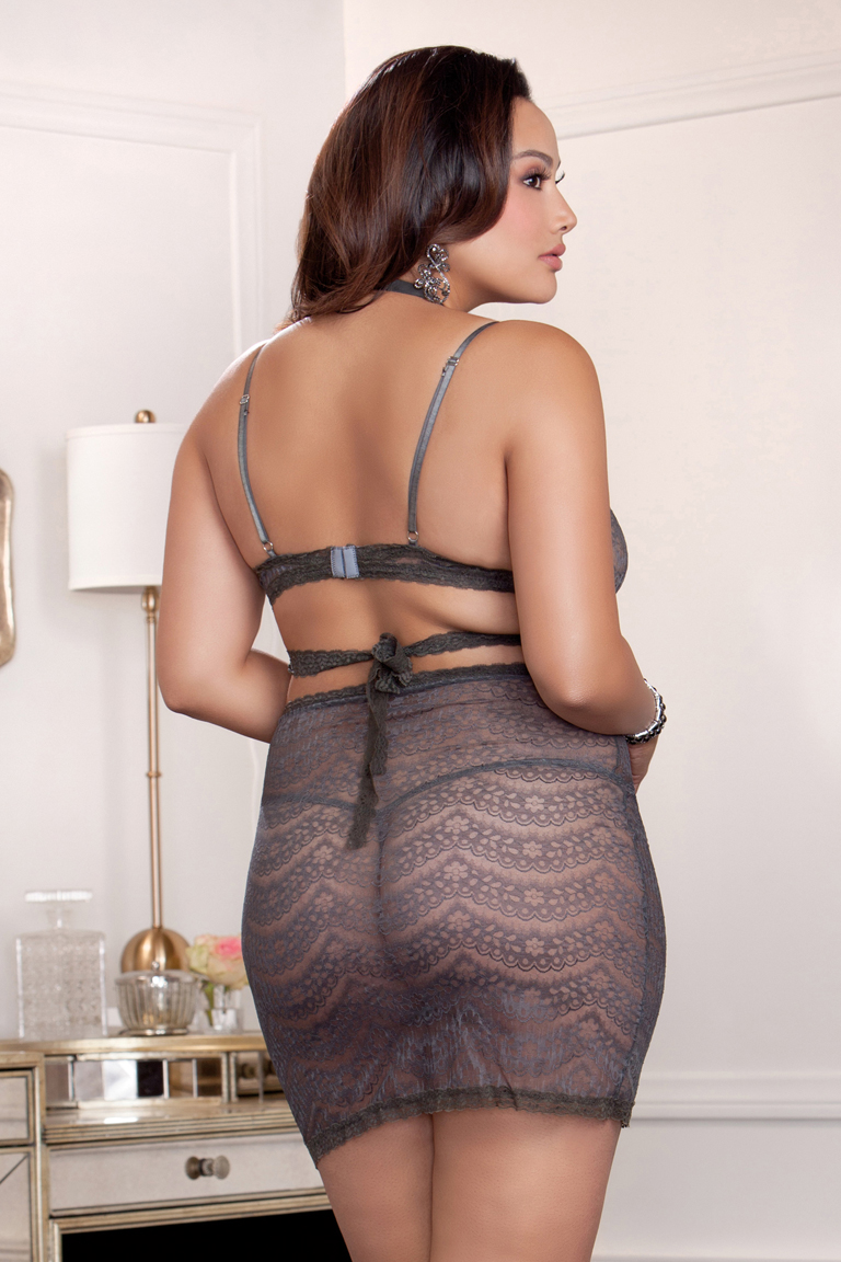 Dove Gray Lace Wrap Bra and Skirt