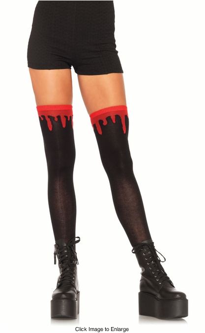 Dripping Blood Zombie Thigh High Stockings