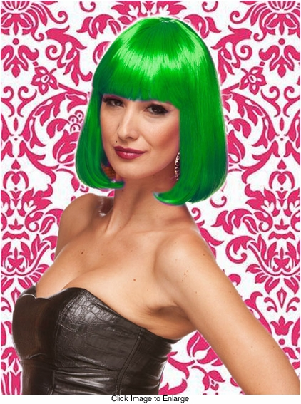 Edgy Page Style Wig in Emerald Green