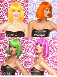 Edgy Page Wig in Orange, Yellow, Green and Bubblegum Pink