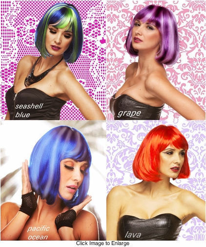 Edgy Page Wig in Seashell Blue, Grape, Ocean and Lava Red