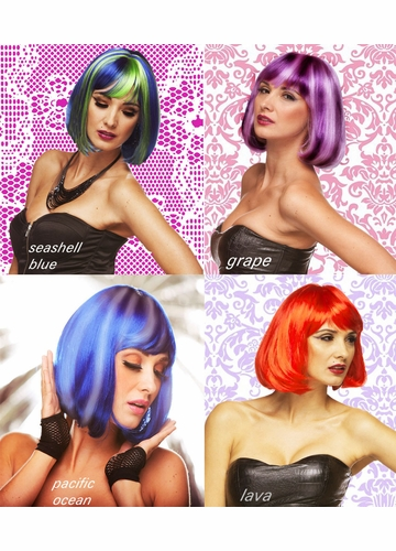 Edgy Page Wig in Seashell Blue, Grape, Ocean & Lava Red