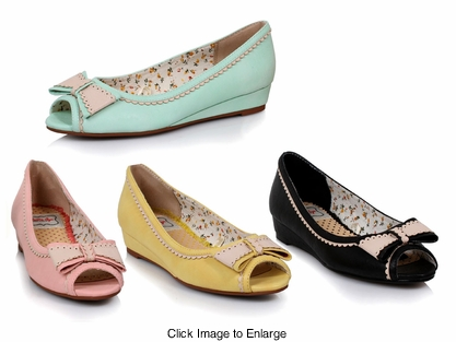 Elsa Peep Toe Flats from Bettie Page Shoes