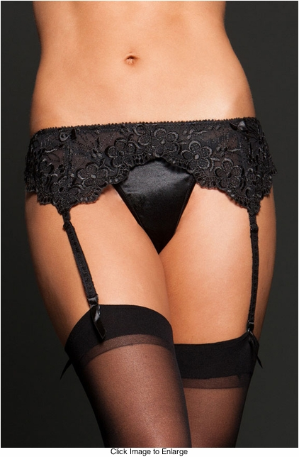 Embroidered Lace Garter Belt
