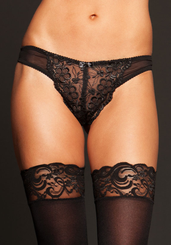 Embroidered Lace Thong with Peek-A-Boo Back
