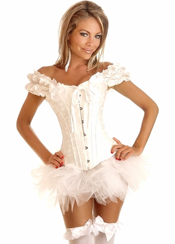 Embroidered White Peasant Top Corset & Pettiskirt