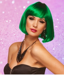 Emerald Green Bob Wig with Bangs Cindy