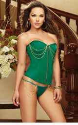 Emerald Green Corset with Thong and Gold Chain Accents