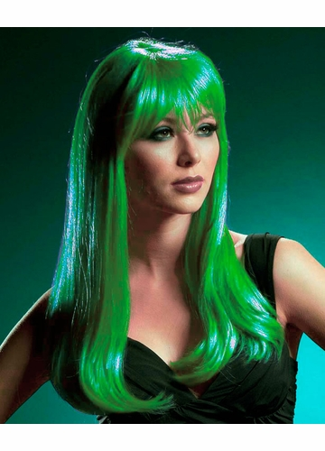 Emerald Green Kelly Wig with Rich Face Framing Bangs