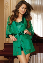 Emerald Green Lace Robe and Satin Slip