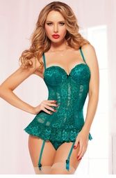Emerald Lace Bustier and Thong
