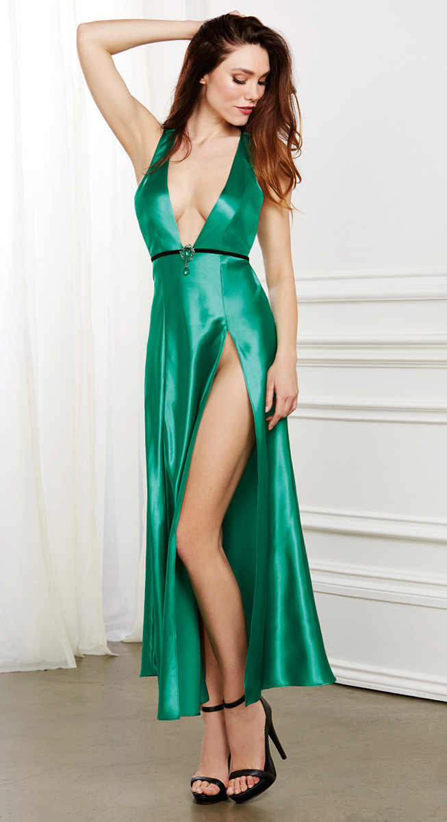 Emerald Satin and Lace Babydoll Gown