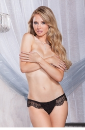 Eyelash Lace Thong with Keyhole Back