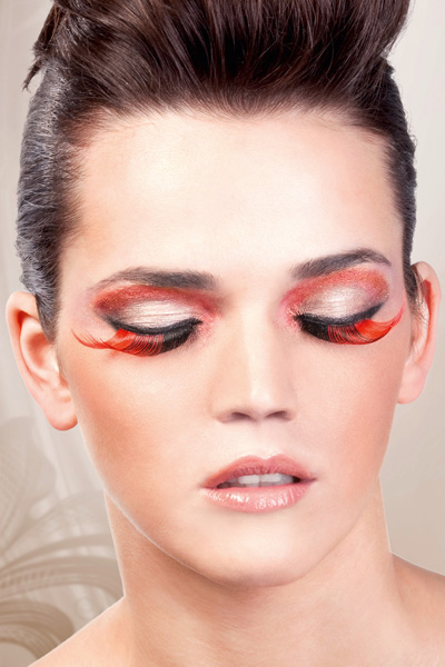 Feathered Red and Black False Lashes