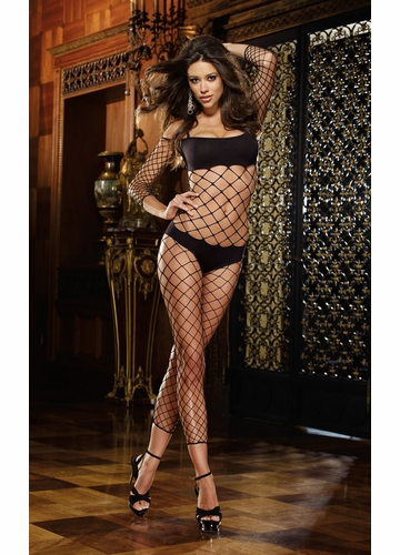 Fence Net Bodystocking with Built in Bra and Shorts