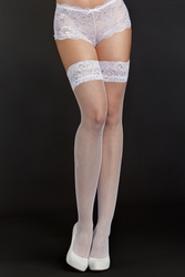 """Fine Fishnet Thigh High Stockings with 2"""" Lace Top"""