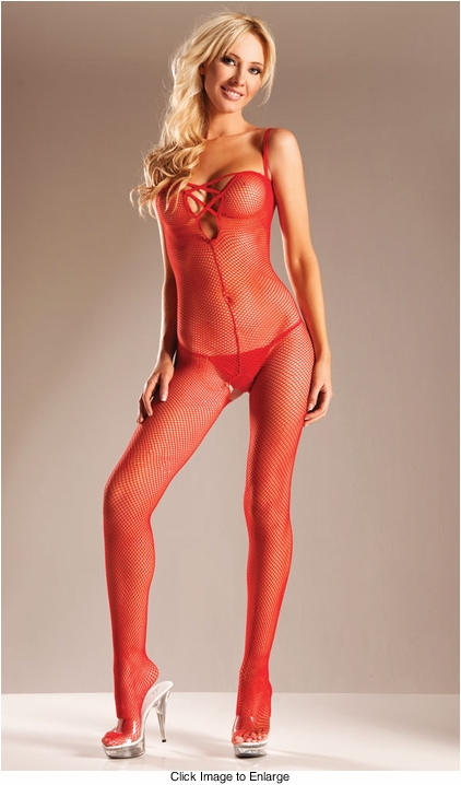 Fishnet Bodystocking with Criss Cross Front