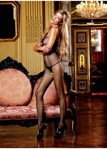Fishnet Bodystocking with Contrast Trim