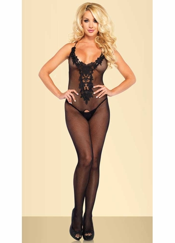 Fishnet Bodystocking with Floral Lace Front