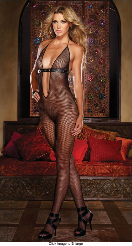 Fishnet Bodystocking with Studded Straps