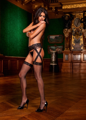 Fishnet Garter Stockings with Lace Top