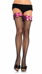 Fishnet Garter Top Stockings with Pink Bows