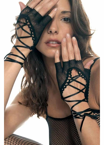 Fishnet Gloves with Satin Lacing