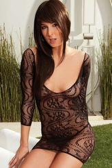 Fishnet Lace Mini Dress with Criss Cross Back