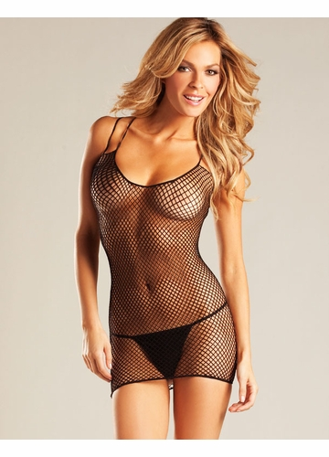 Fishnet Mini Dress with Double Criss Cross Straps