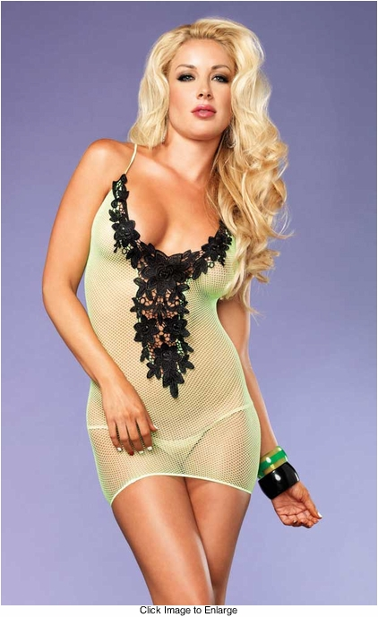 Fishnet Mini Dress with Floral Lace