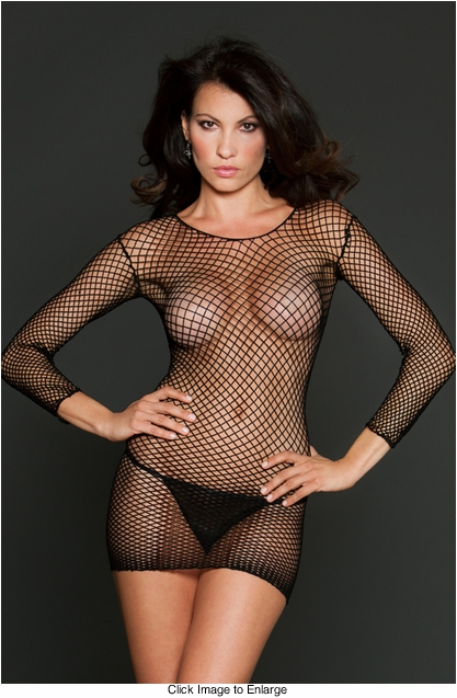 Fishnet Mini Dress with Long Sleeves