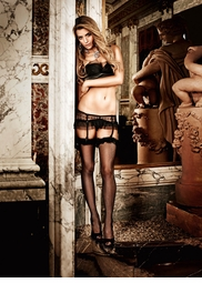 Fishnet Thigh High Stockings with Marabou Feather Top
