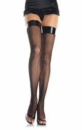 Fishnet Thigh High Stockings With Vinyl Top