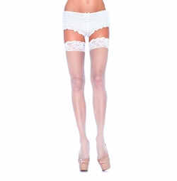 """Fishnet Thigh Highs With 3"""" Lace Cuff"""