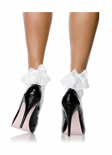 Flirty Ankle Socks with Lace Ruffle and Bow