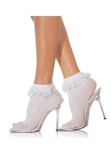 Flirty Schoolgirl Ankle Socks with Lace Ruffle