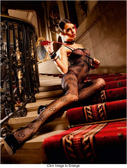 Floral Fishnet Bodystocking with Spaghetti Straps
