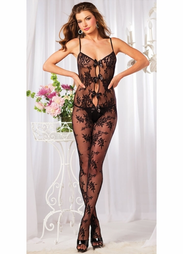 Floral Lace Bodystocking with Keyhole Front and Bows
