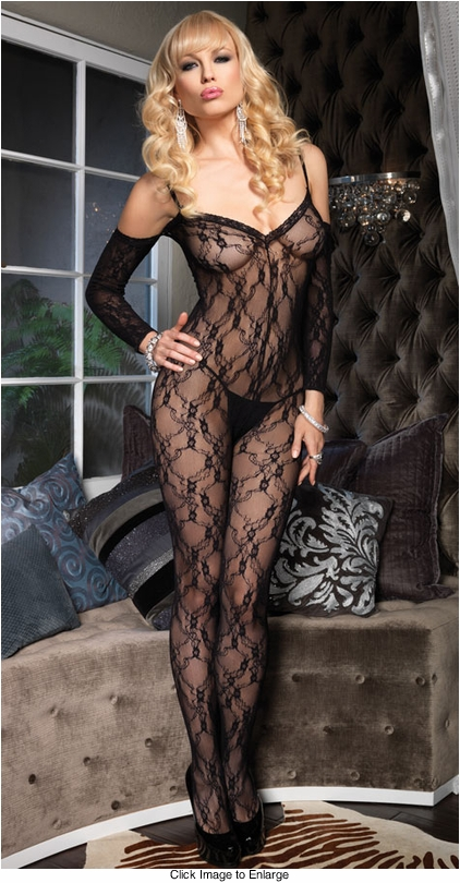Floral Lace Bodystockings with Attached Sleeves