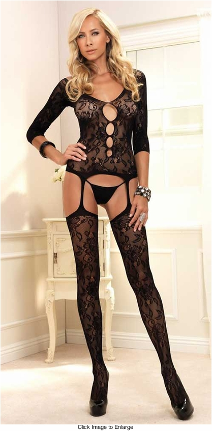 Floral Lace Garter Top with Long Sleeves and Stockings
