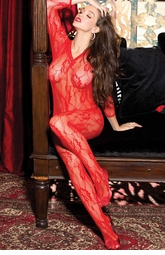 Floral Lace Long Sleeve Bodystocking